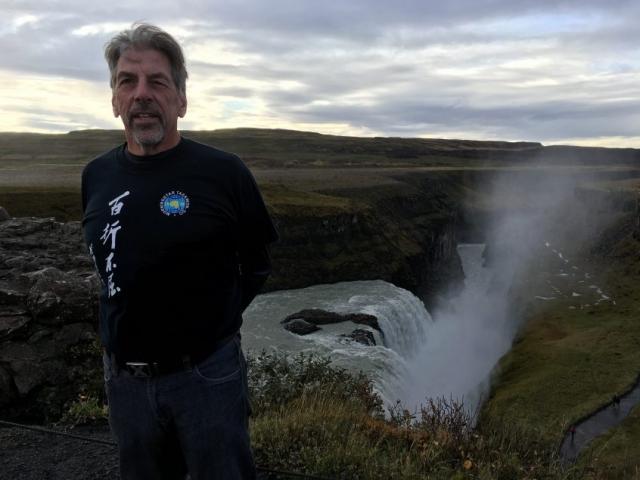 2017-09-30 - Mr. Klassen at Faxafloss Falls, Iceland